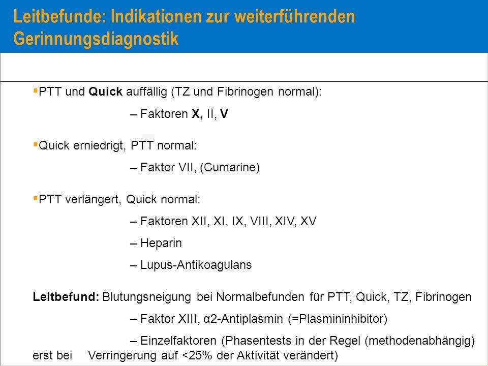Leitbefunde: Indikationen zur weiterführenden Gerinnungsdiagnostik