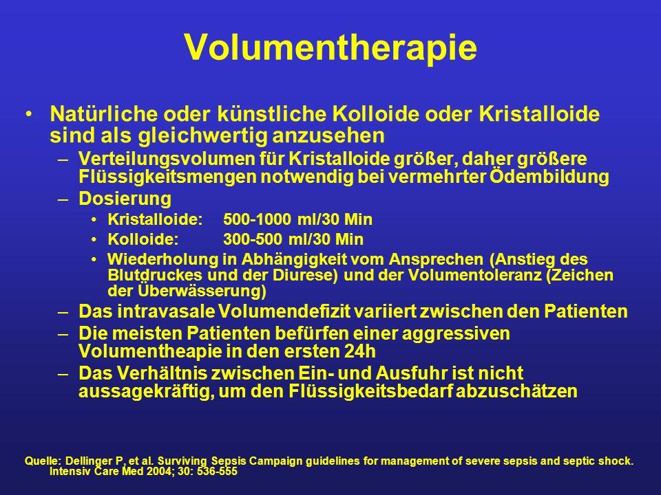 Volumentherapie Natürliche oder künstliche Kolloide oder Kristalloide sind als gleichwertig anzusehen.