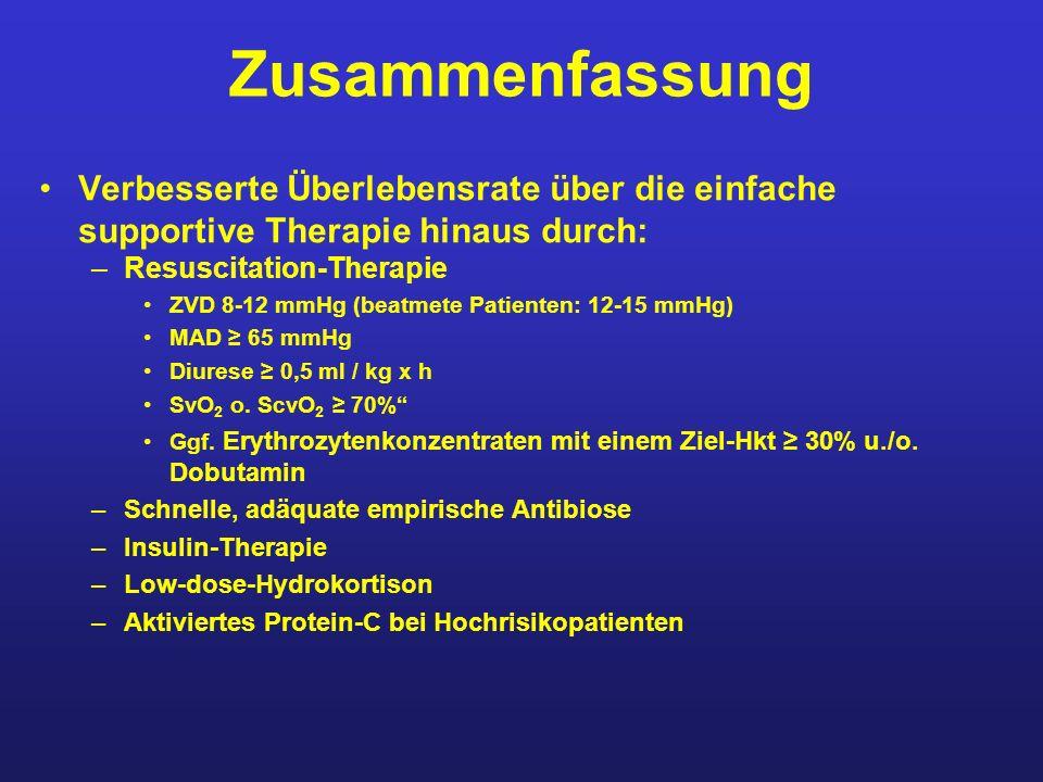 Zusammenfassung Verbesserte Überlebensrate über die einfache supportive Therapie hinaus durch: Resuscitation-Therapie.