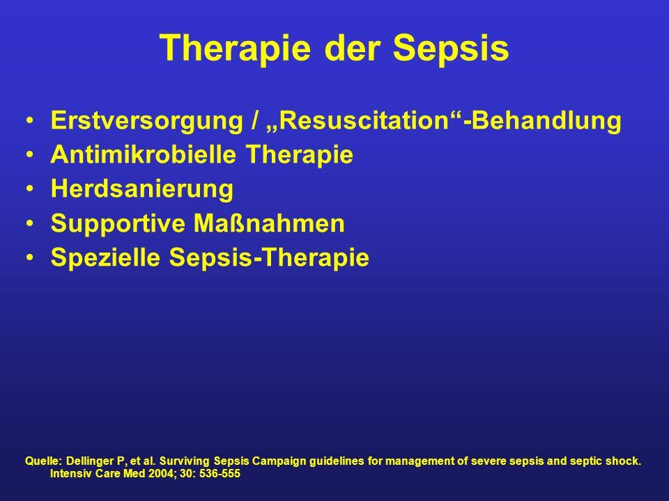 """Therapie der Sepsis Erstversorgung / """"Resuscitation -Behandlung"""