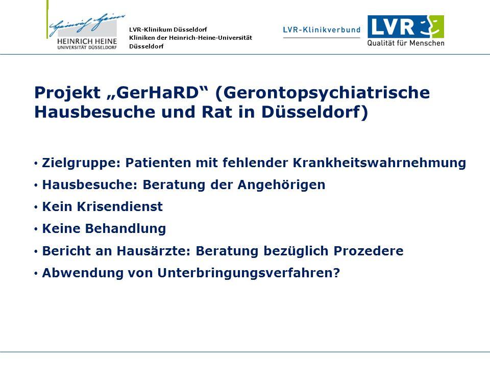 """Projekt """"GerHaRD (Gerontopsychiatrische Hausbesuche und Rat in Düsseldorf)"""