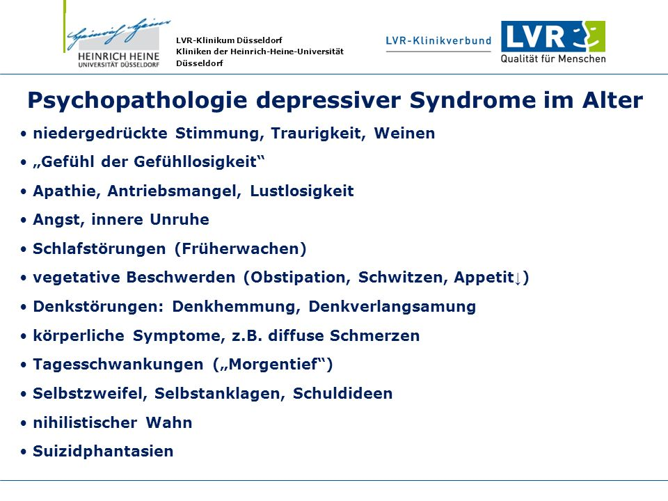 Psychopathologie depressiver Syndrome im Alter
