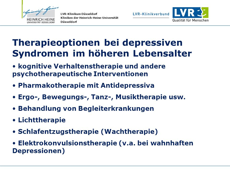 Therapieoptionen bei depressiven Syndromen im höheren Lebensalter