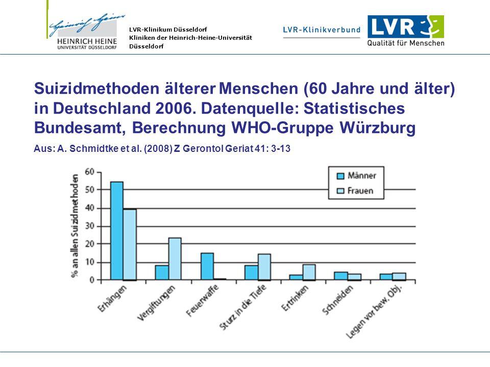 Suizidmethoden älterer Menschen (60 Jahre und älter) in Deutschland 2006. Datenquelle: Statistisches Bundesamt, Berechnung WHO-Gruppe Würzburg