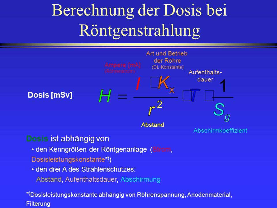 Berechnung der Dosis bei Röntgenstrahlung