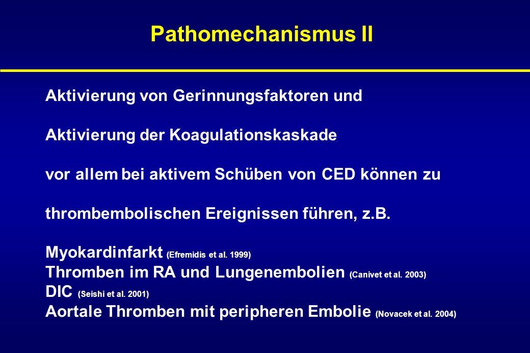 Pathomechanismus II Aktivierung von Gerinnungsfaktoren und