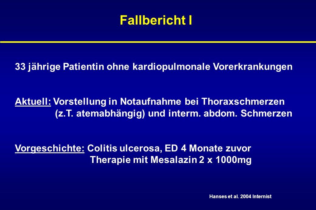 Fallbericht I33 jährige Patientin ohne kardiopulmonale Vorerkrankungen. Aktuell: Vorstellung in Notaufnahme bei Thoraxschmerzen.