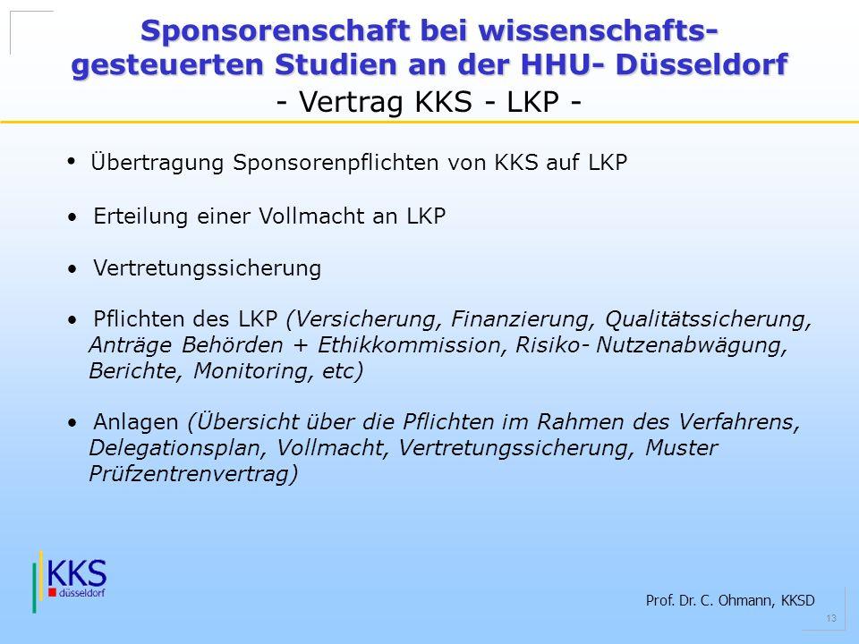 Übertragung Sponsorenpflichten von KKS auf LKP