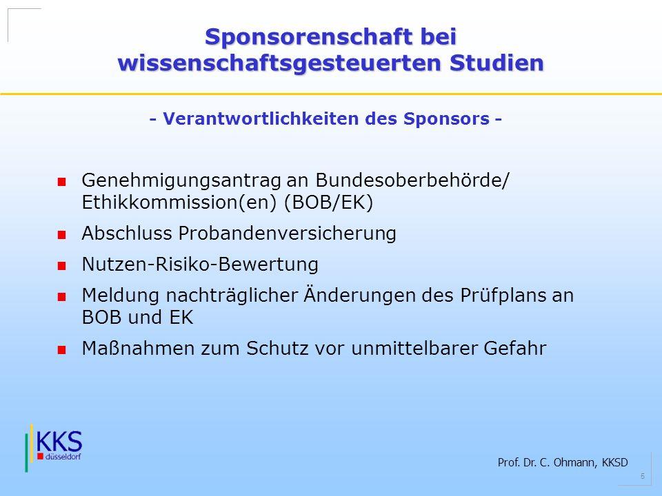 Sponsorenschaft bei wissenschaftsgesteuerten Studien