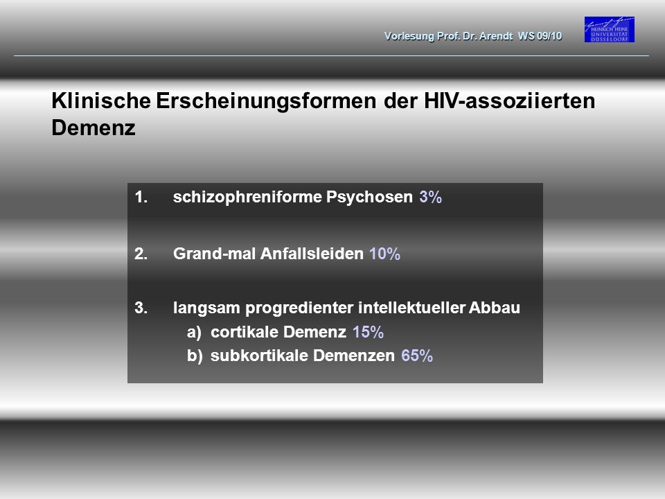 Klinische Erscheinungsformen der HIV-assoziierten Demenz