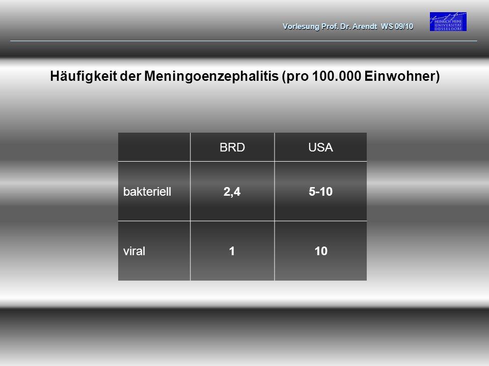Häufigkeit der Meningoenzephalitis (pro 100.000 Einwohner)