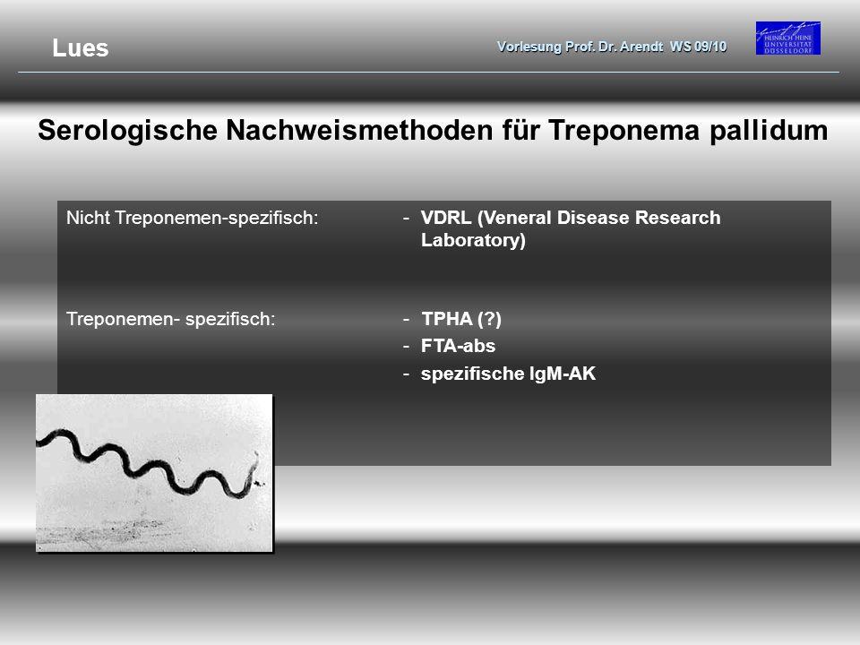 Serologische Nachweismethoden für Treponema pallidum
