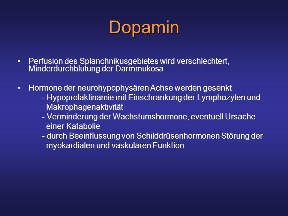 Dopamin Perfusion des Splanchnikusgebietes wird verschlechtert, Minderdurchblutung der Darmmukosa.