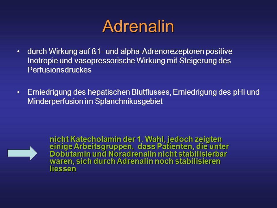 Adrenalin durch Wirkung auf ß1- und alpha-Adrenorezeptoren positive Inotropie und vasopressorische Wirkung mit Steigerung des Perfusionsdruckes.