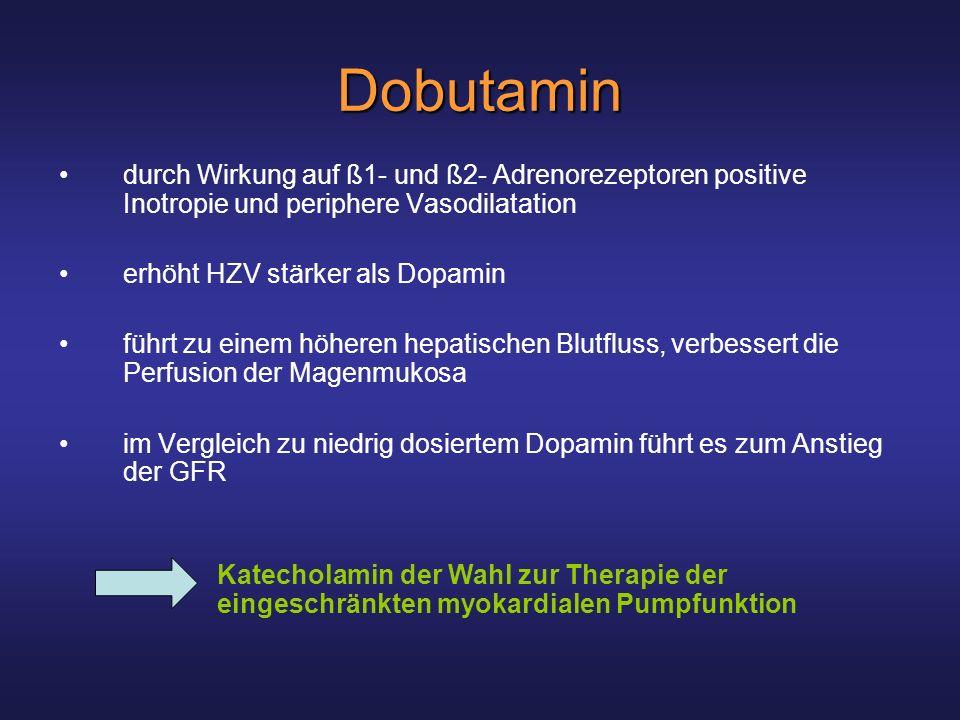 Dobutamin durch Wirkung auf ß1- und ß2- Adrenorezeptoren positive Inotropie und periphere Vasodilatation.
