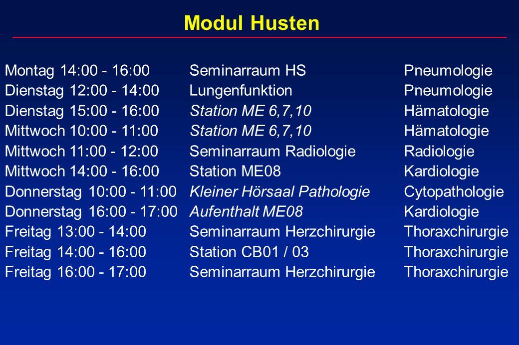 Modul Husten Montag 14:00 - 16:00 Seminarraum HS Pneumologie