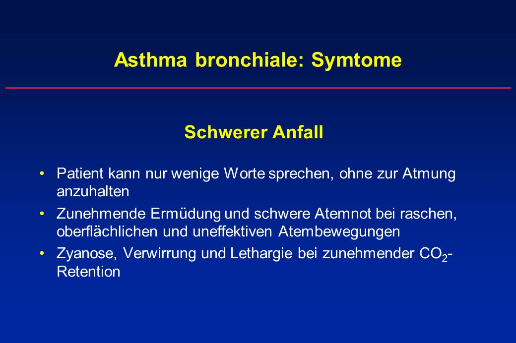 Asthma bronchiale: Symtome