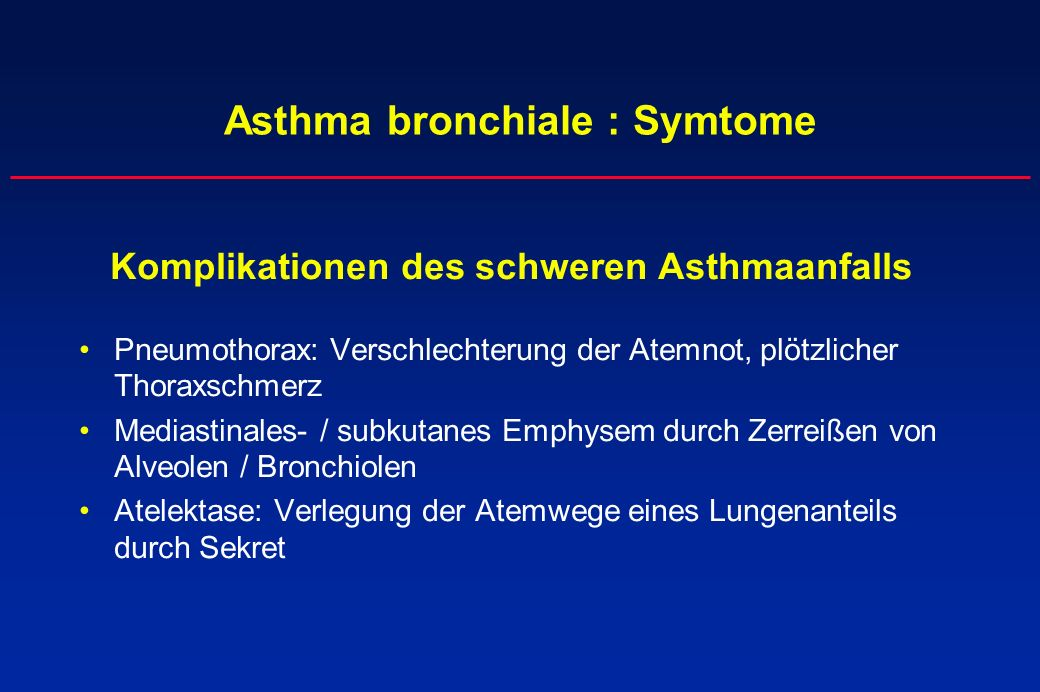 Asthma bronchiale : Symtome