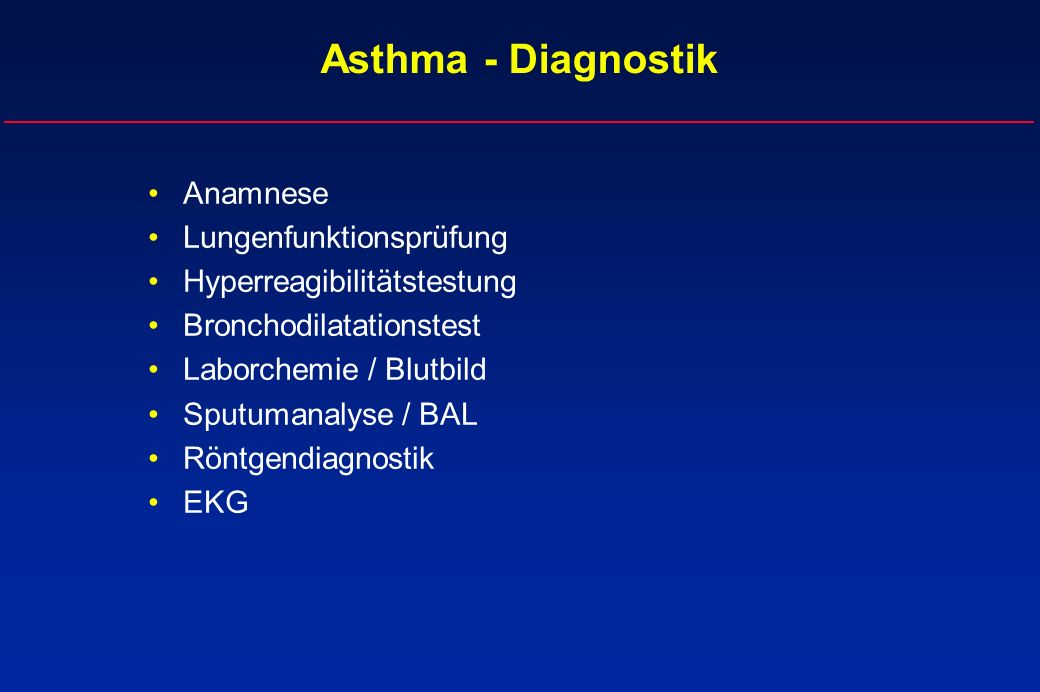 Asthma - Diagnostik Anamnese Lungenfunktionsprüfung