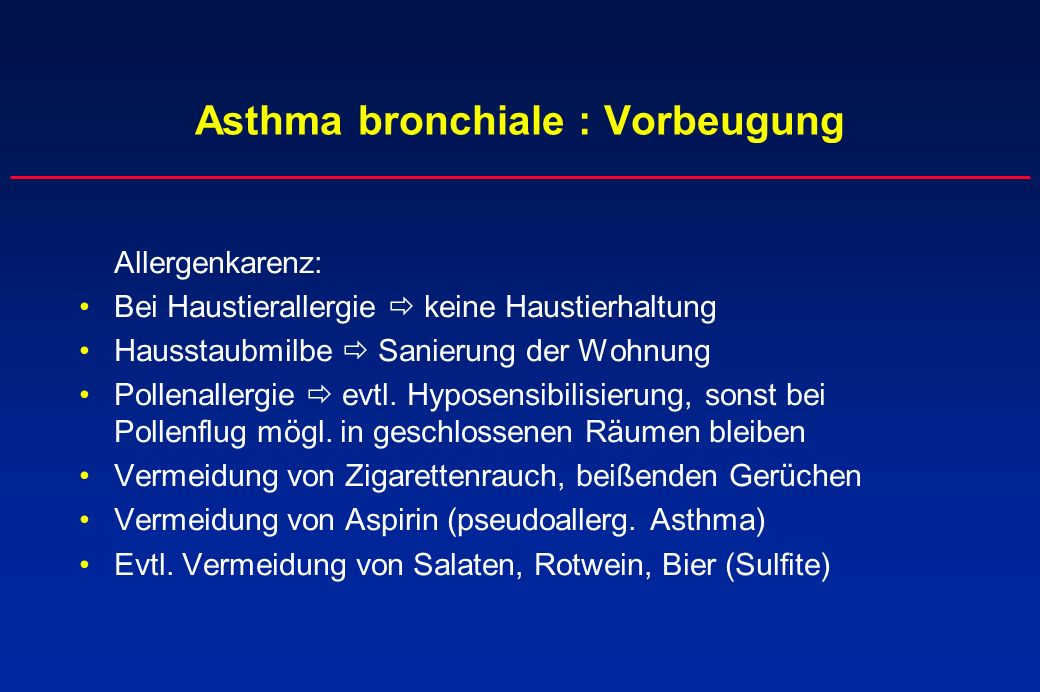 Asthma bronchiale : Vorbeugung