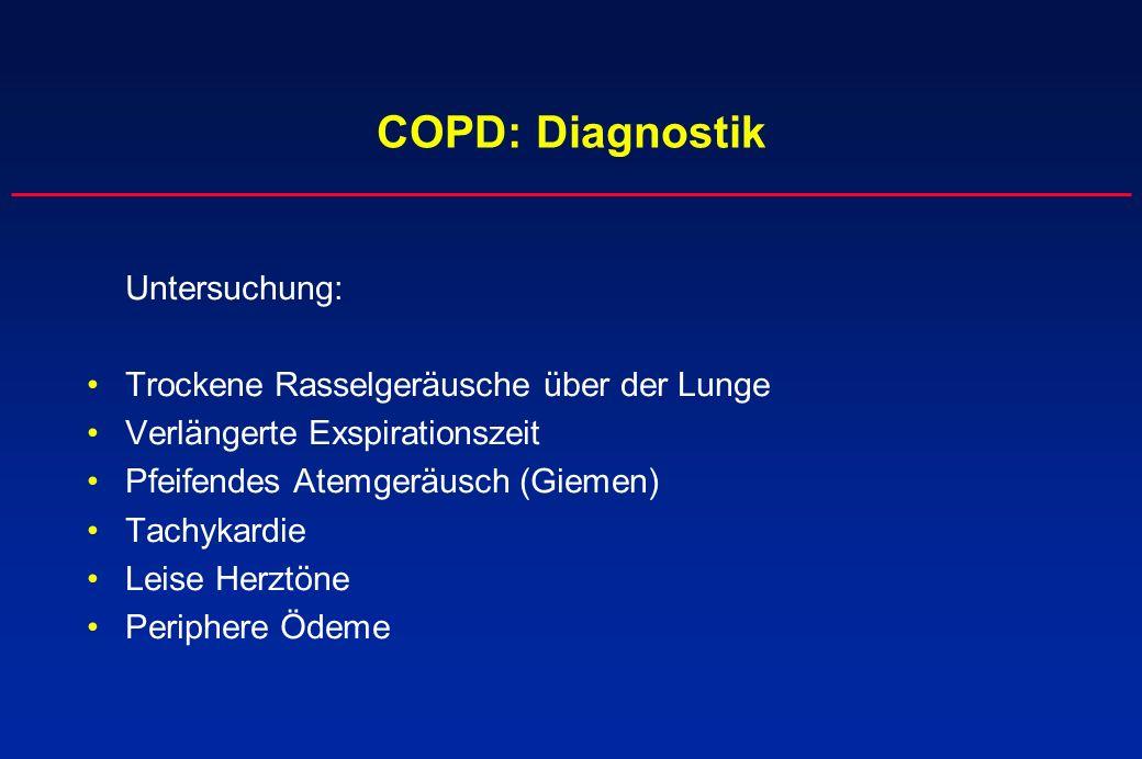 COPD: Diagnostik Trockene Rasselgeräusche über der Lunge