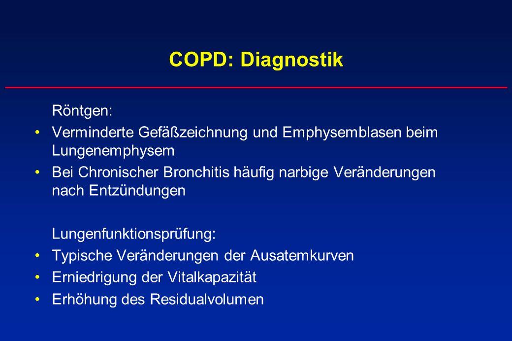 COPD: Diagnostik Röntgen: Verminderte Gefäßzeichnung und Emphysemblasen beim Lungenemphysem.