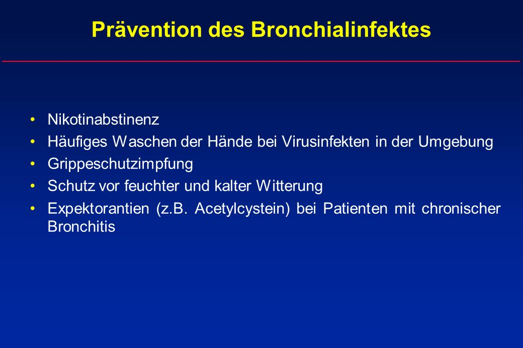 Prävention des Bronchialinfektes