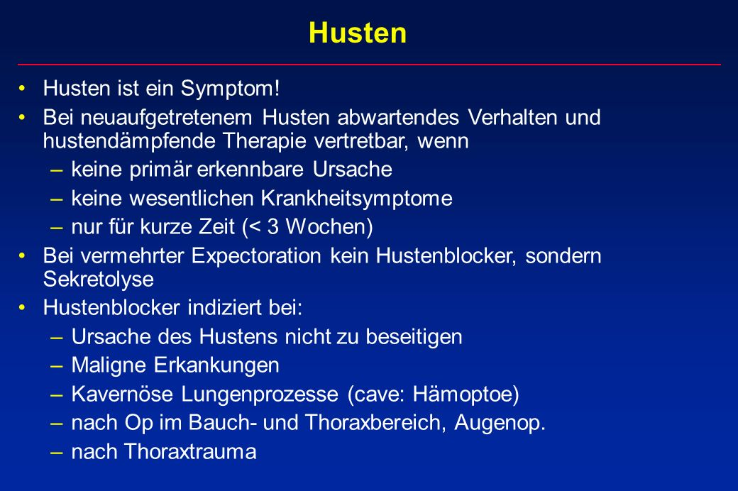 Husten Husten ist ein Symptom!