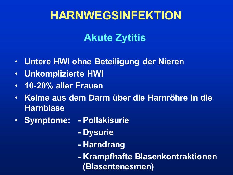 HARNWEGSINFEKTION Akute Zytitis Untere HWI ohne Beteiligung der Nieren