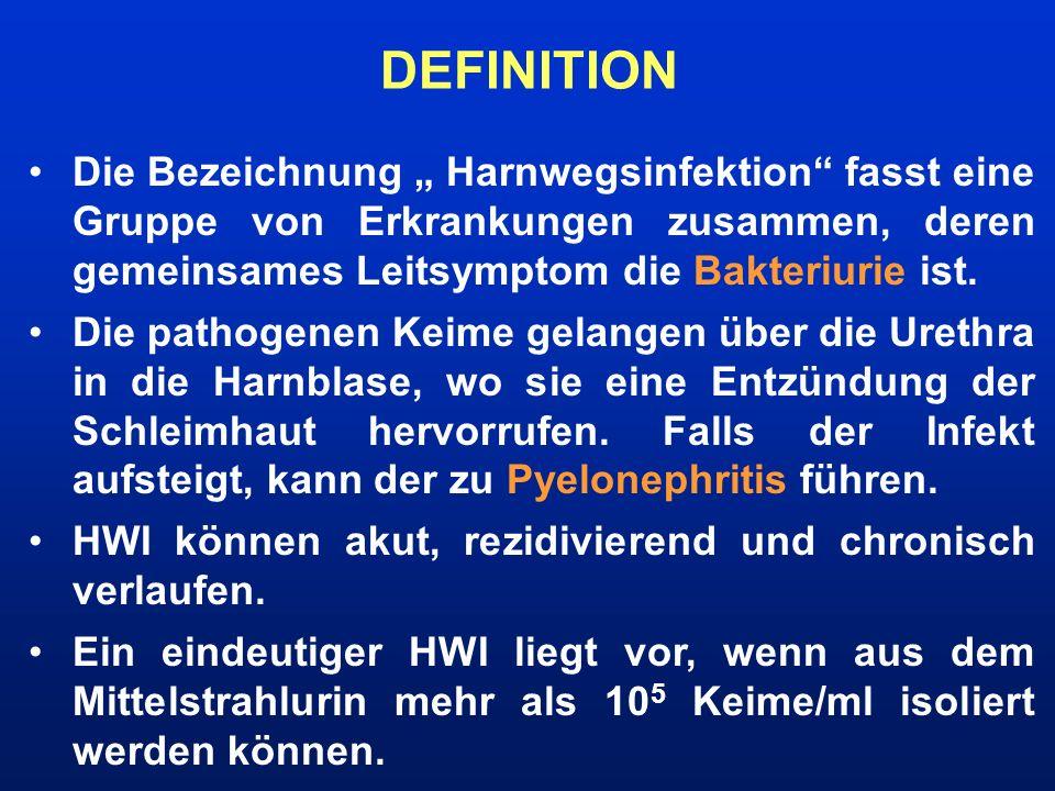 """DEFINITION Die Bezeichnung """" Harnwegsinfektion fasst eine Gruppe von Erkrankungen zusammen, deren gemeinsames Leitsymptom die Bakteriurie ist."""