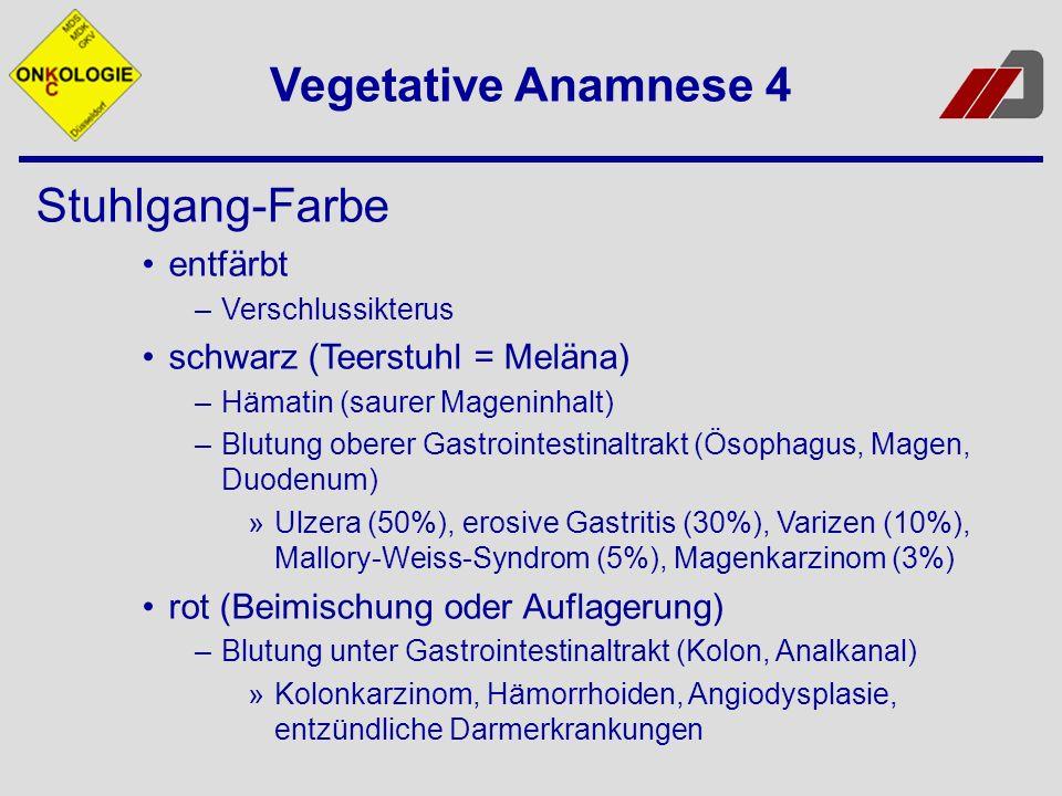 Vegetative Anamnese 4 Stuhlgang-Farbe entfärbt