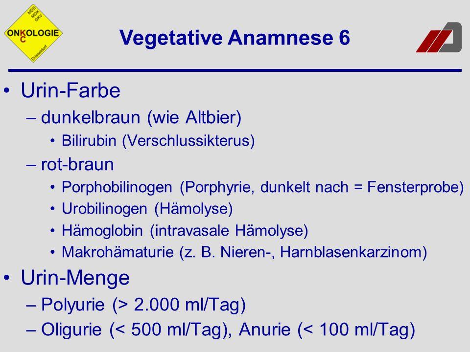 Vegetative Anamnese 6 Urin-Farbe Urin-Menge dunkelbraun (wie Altbier)
