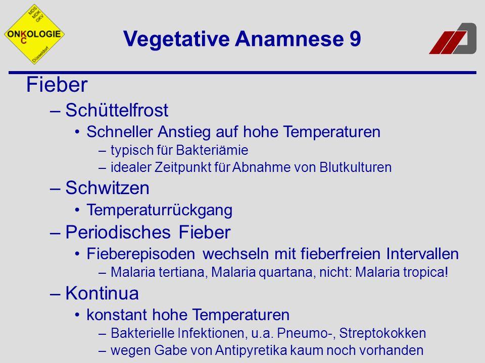 Vegetative Anamnese 9 Fieber Schüttelfrost Schwitzen