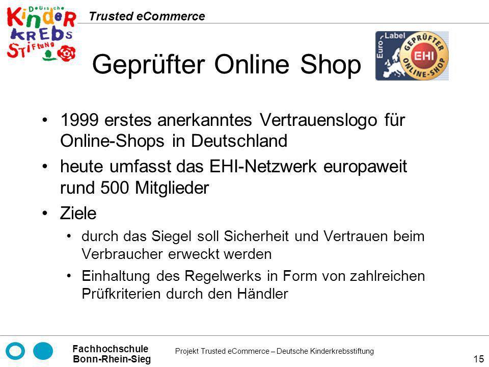Geprüfter Online Shop 1999 erstes anerkanntes Vertrauenslogo für Online-Shops in Deutschland.