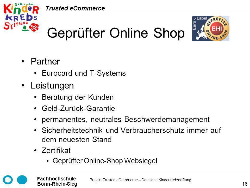 Geprüfter Online Shop Partner Leistungen Eurocard und T-Systems