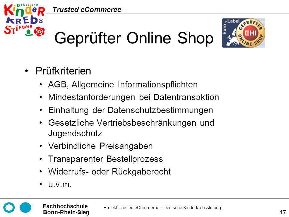 Geprüfter Online Shop Prüfkriterien