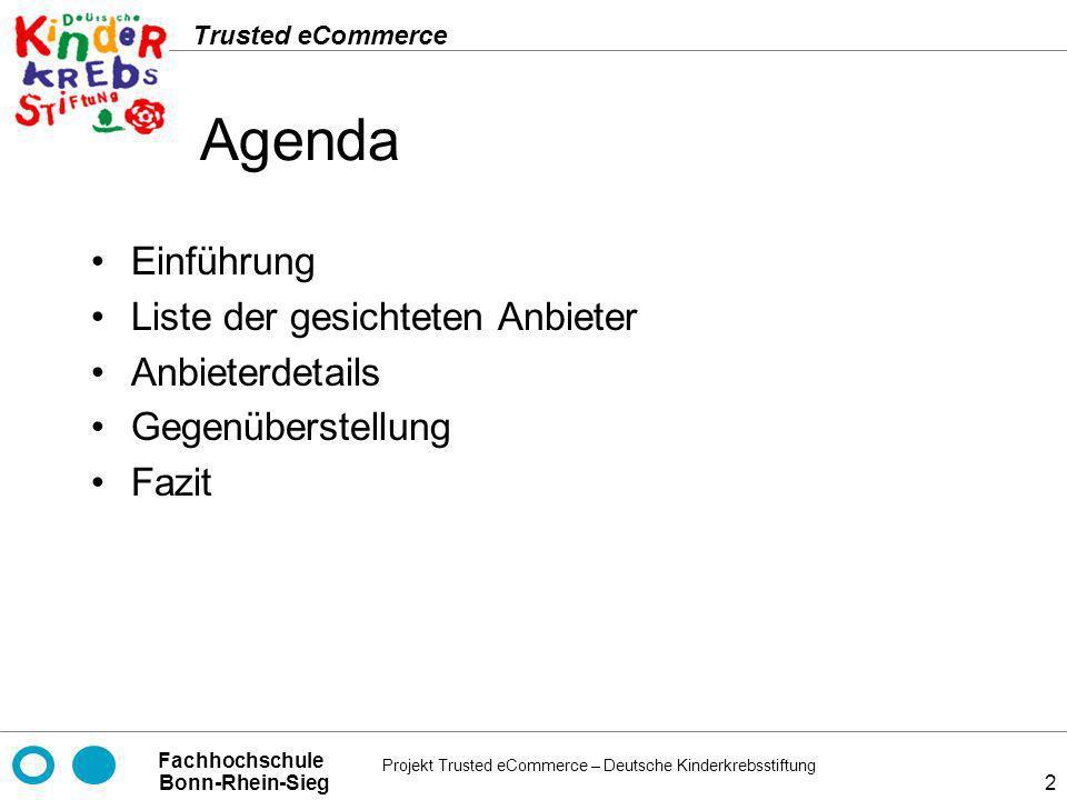 Agenda Einführung Liste der gesichteten Anbieter Anbieterdetails
