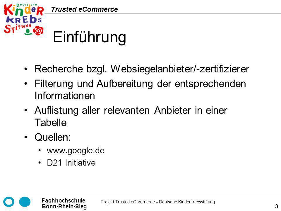 Einführung Recherche bzgl. Websiegelanbieter/-zertifizierer