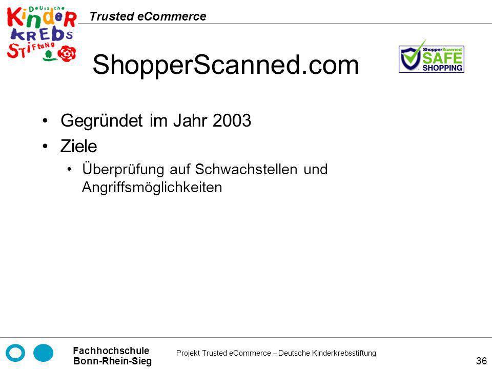 ShopperScanned.com Gegründet im Jahr 2003 Ziele