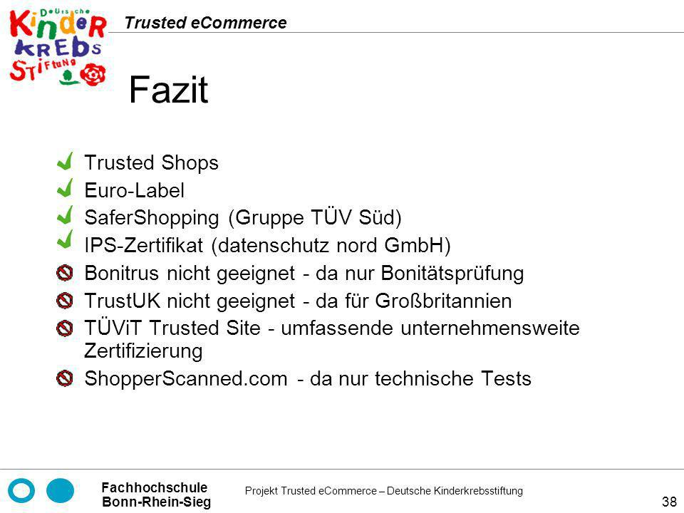 Fazit Trusted Shops Euro-Label SaferShopping (Gruppe TÜV Süd)