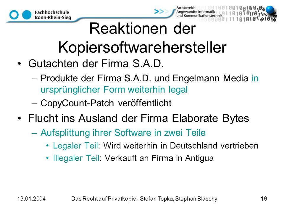 Reaktionen der Kopiersoftwarehersteller