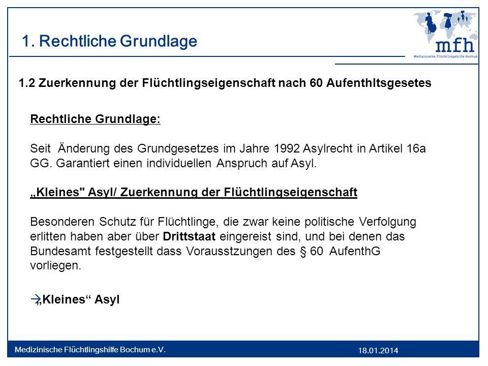 1. Rechtliche Grundlage 1.2 Zuerkennung der Flüchtlingseigenschaft nach 60 Aufenthltsgesetes. Rechtliche Grundlage: