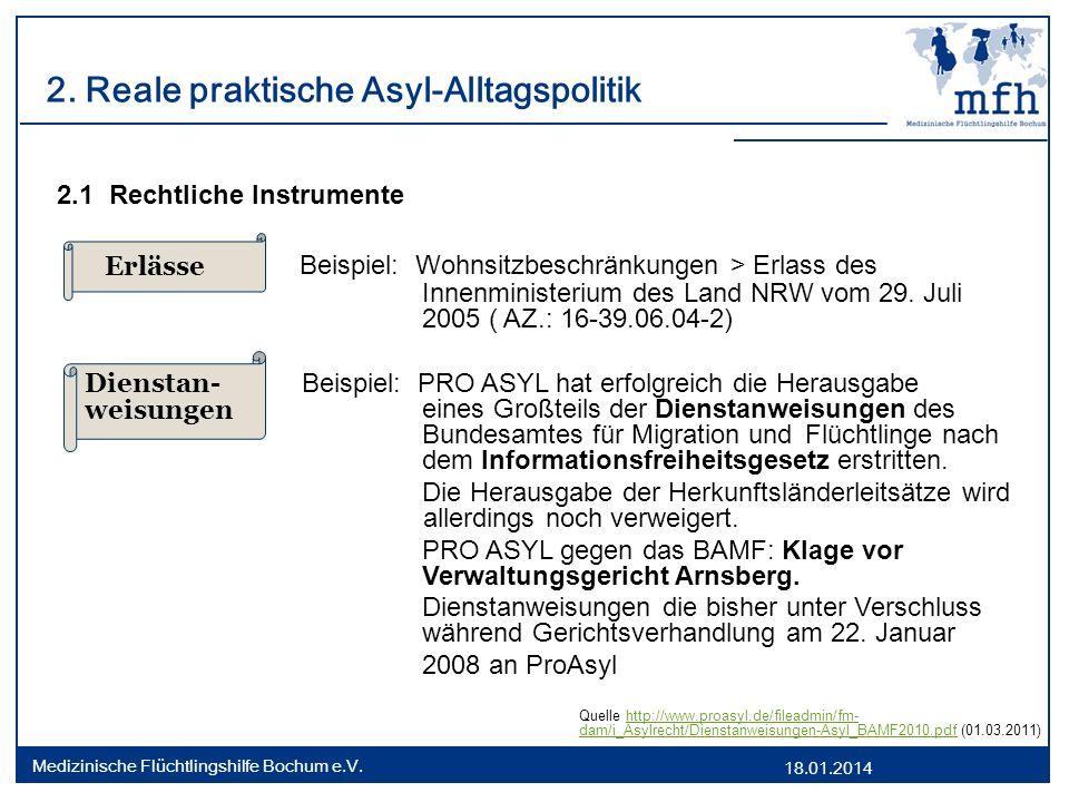 2. Reale praktische Asyl-Alltagspolitik