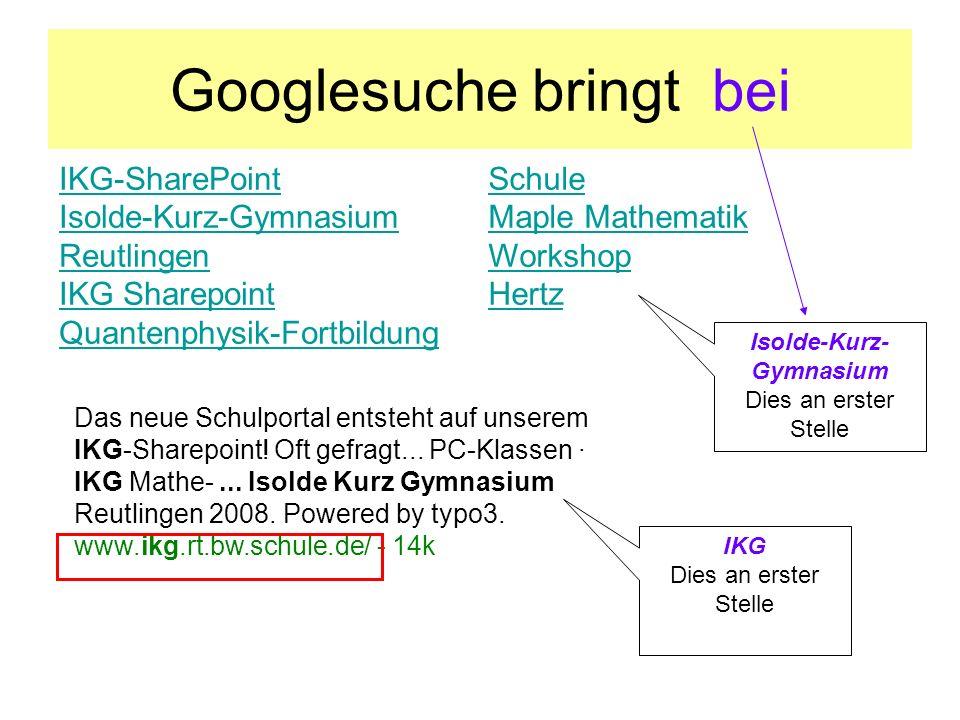 Googlesuche bringt bei