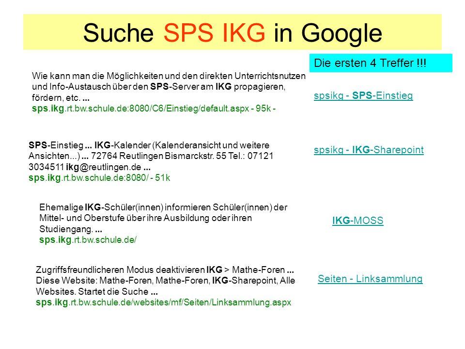 Suche SPS IKG in Google Die ersten 4 Treffer !!! spsikg - SPS-Einstieg