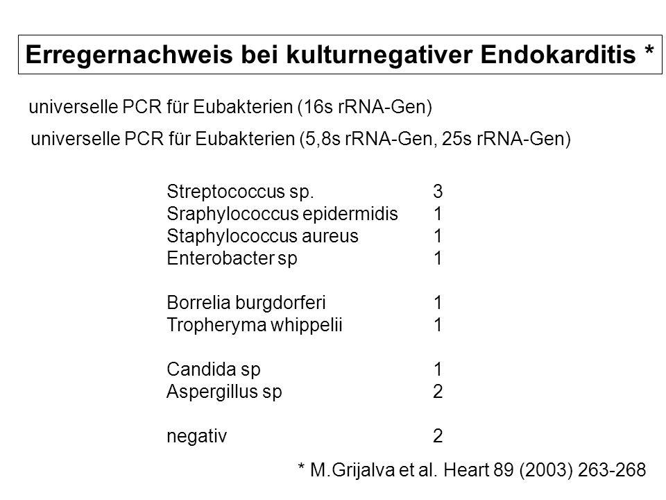 Erregernachweis bei kulturnegativer Endokarditis *