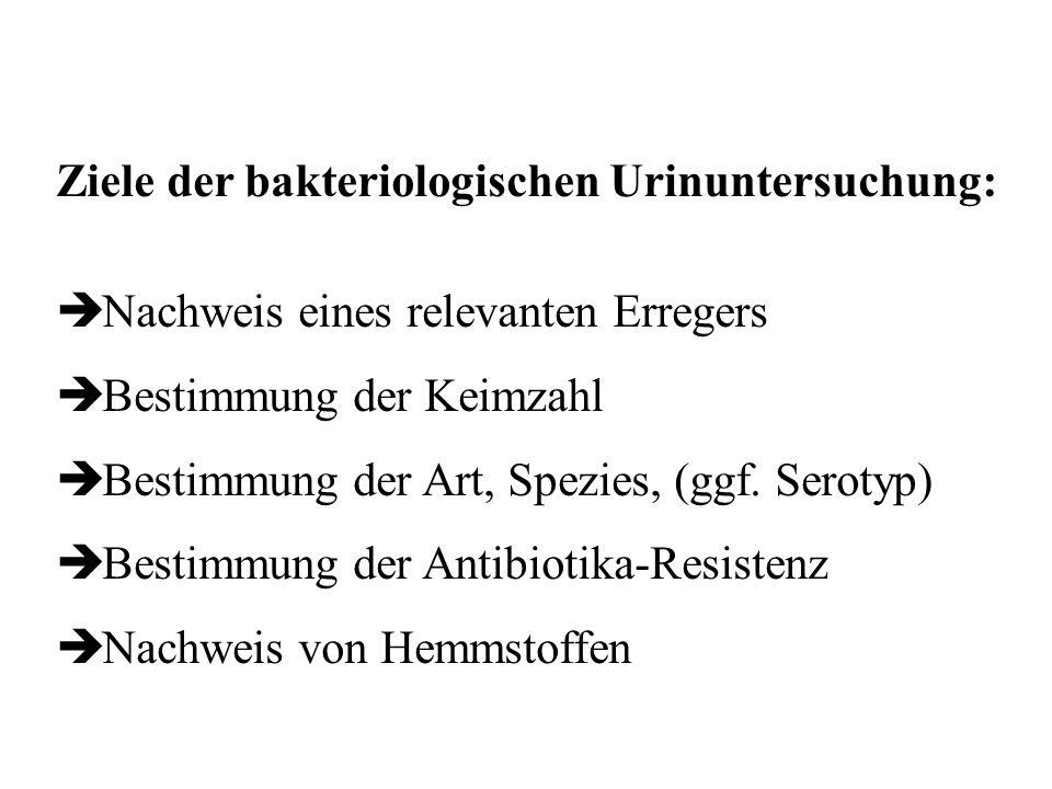 Ziele der bakteriologischen Urinuntersuchung: