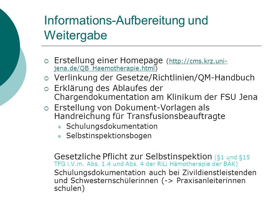 Informations-Aufbereitung und Weitergabe