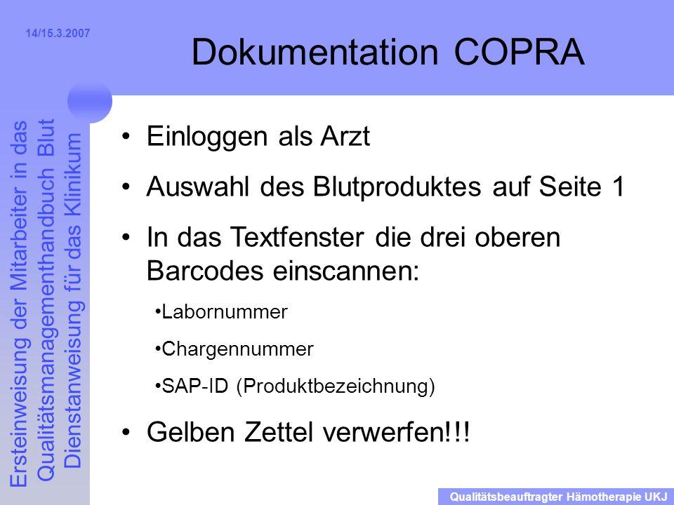 Dokumentation COPRA Einloggen als Arzt