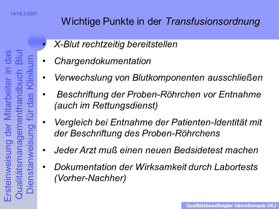 Wichtige Punkte in der Transfusionsordnung